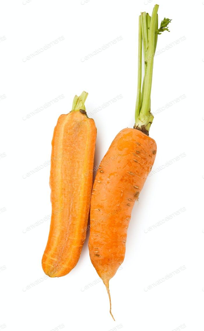 Ripe orange carrot half isolated at white