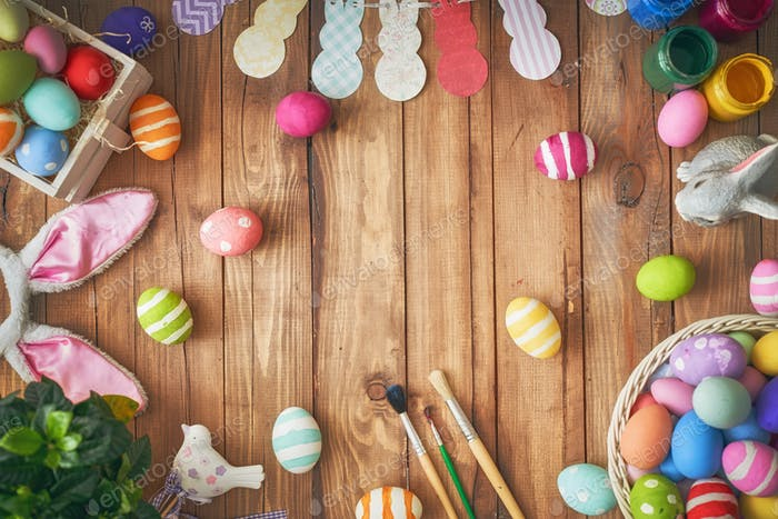 Background with colorful eggs