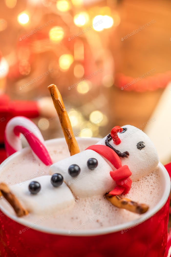 Funny Smiling Snowman Relaxing in Hot Chocolate Cup