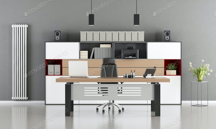 Gray and white modern office