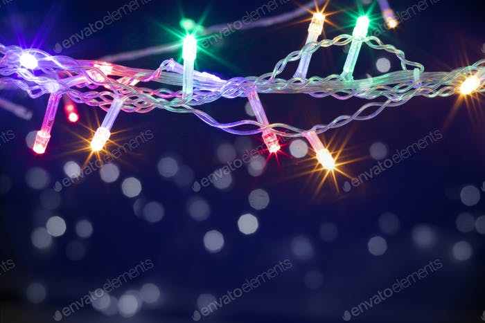 Christmas background with lights and free text space.