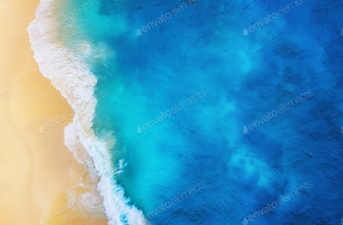 Beach and sea as a background. Seascape from air