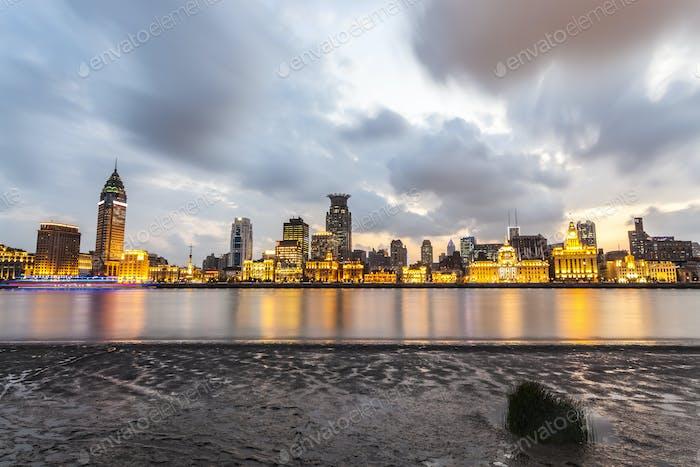 beautiful shanghai bund in nightfall