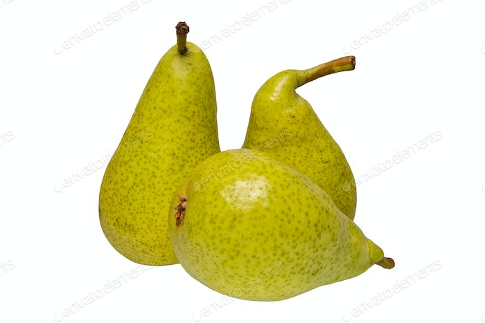 Group of green pears on a white background