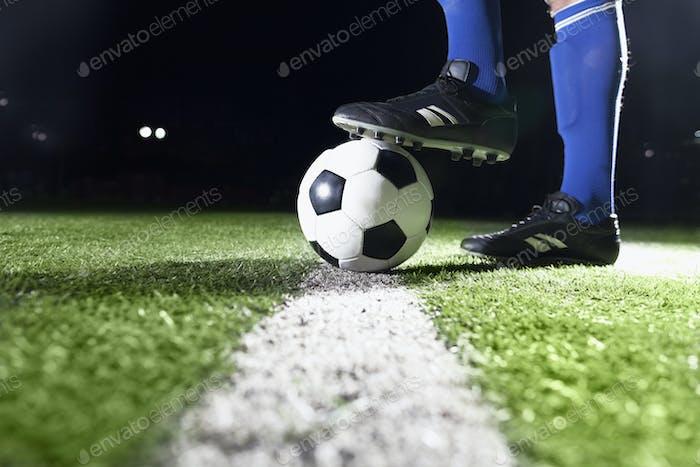 Fuß auf Fußball