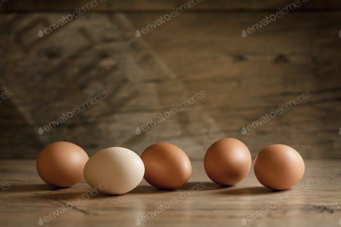 A few eggs on the wood