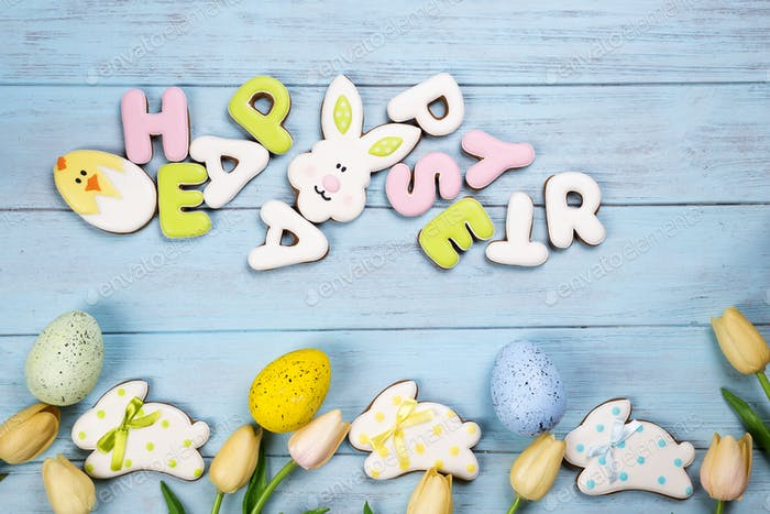 Happy Easter colorful lettering Happy Easter of ginger biscuits