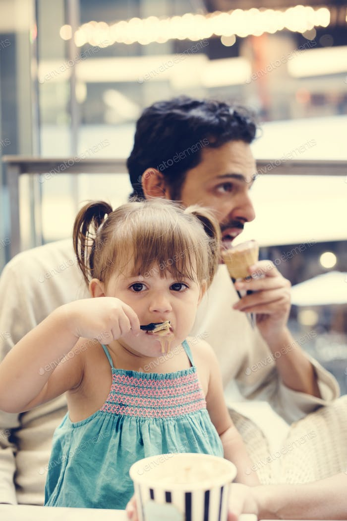 Family eating ice-cream together