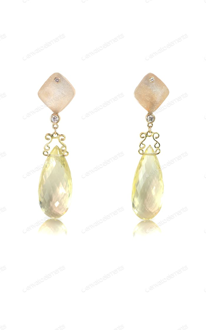 Yellow gold and diamond earrings with citrine crystals and druzy