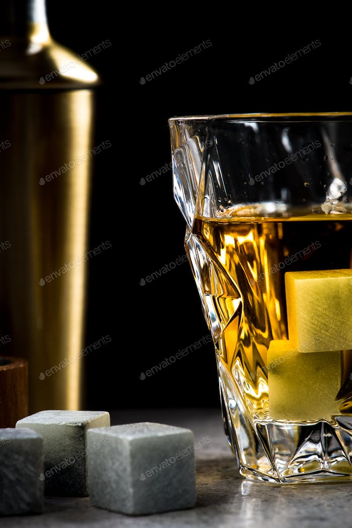 Elegant glass of whiskey
