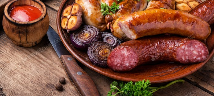 Delicious sausages grilled