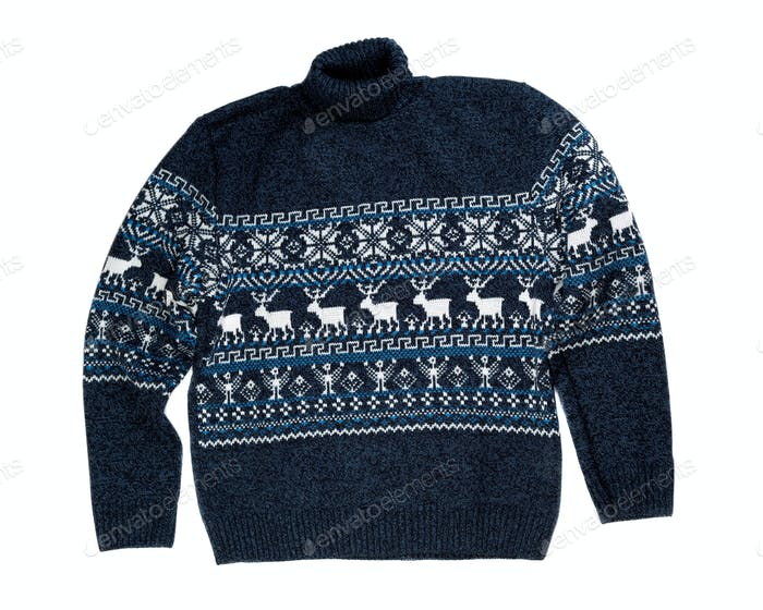 Knitted sweater with a deer.