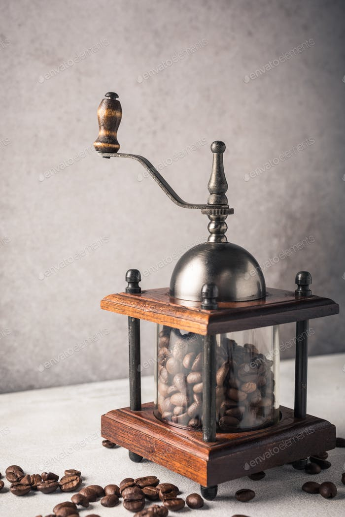 Retro coffee mill with beans