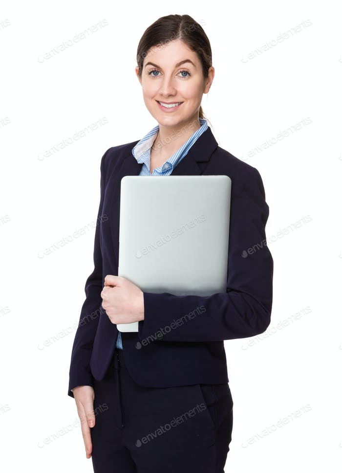 Young businesswoman hold with notebook computer