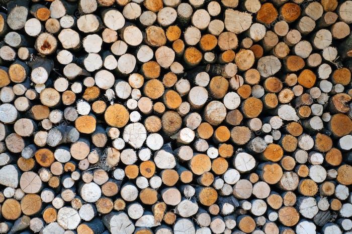Muster von Brennhölzern Stapel Nahaufnahme