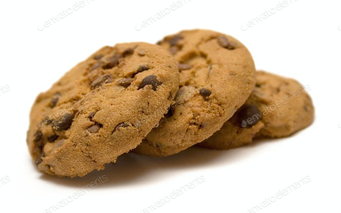 Bunch of Chocolate Chip Cookies Isolated on a White Background