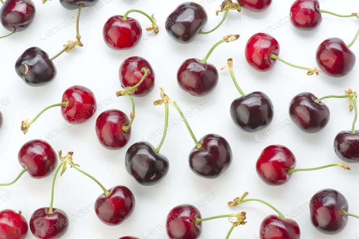 red cherries on white
