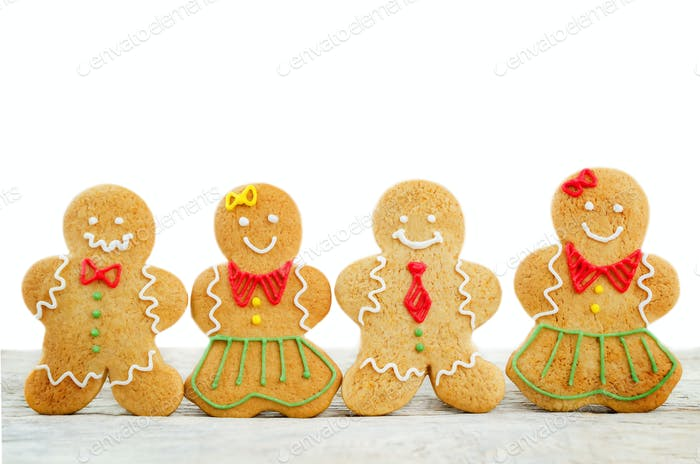 Gingerbread cookies for Christmas isolated. copy space