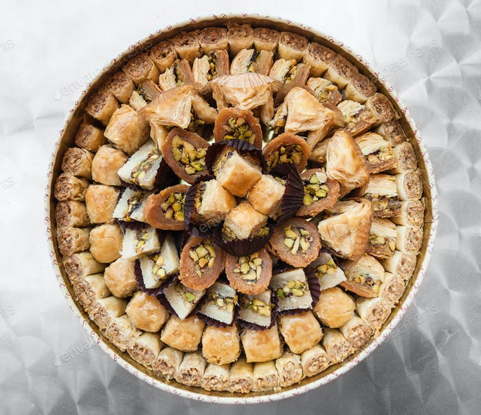 top view of many traditional arabian sweet pastry baklava