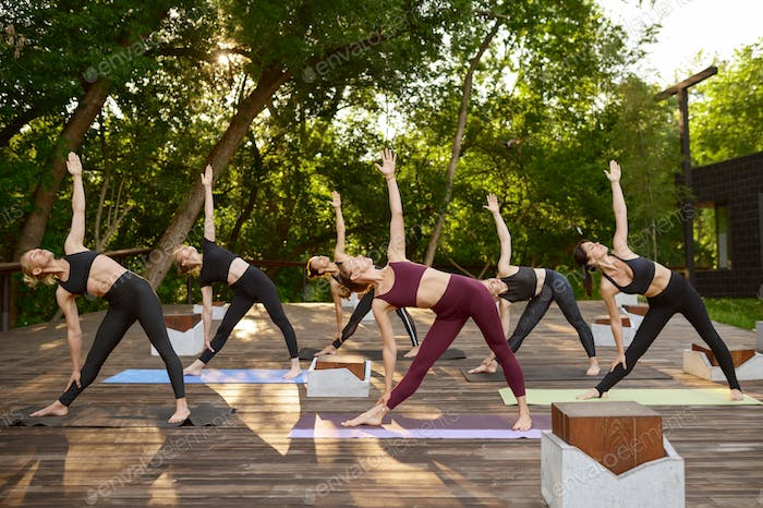 Women with perfect body, group yoga