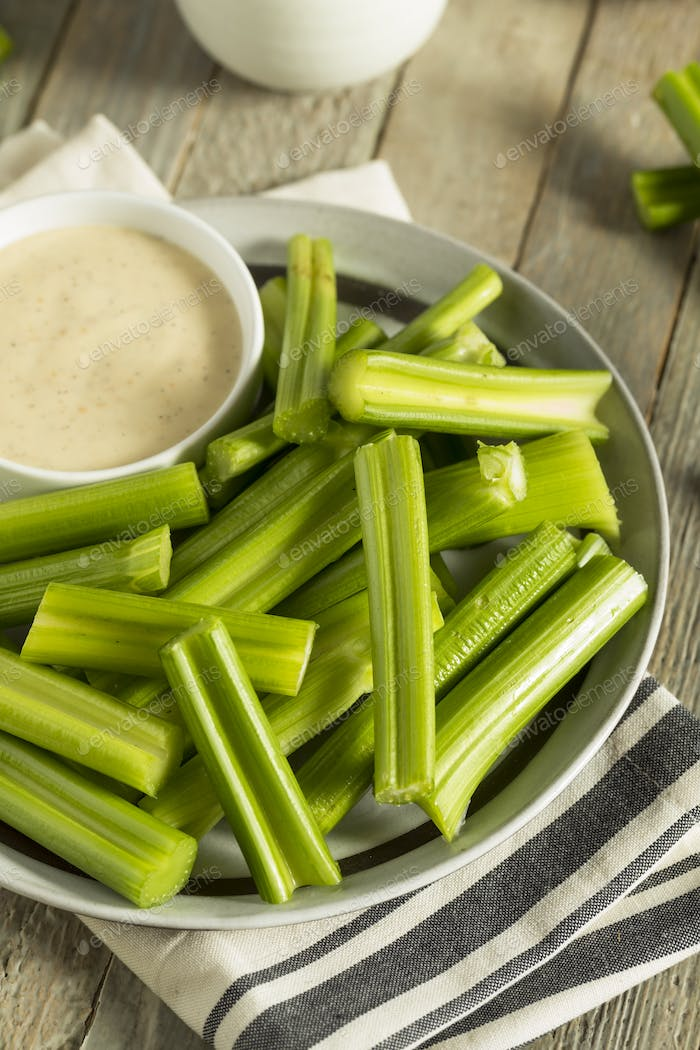 Raw Organic Green Celery Stalks