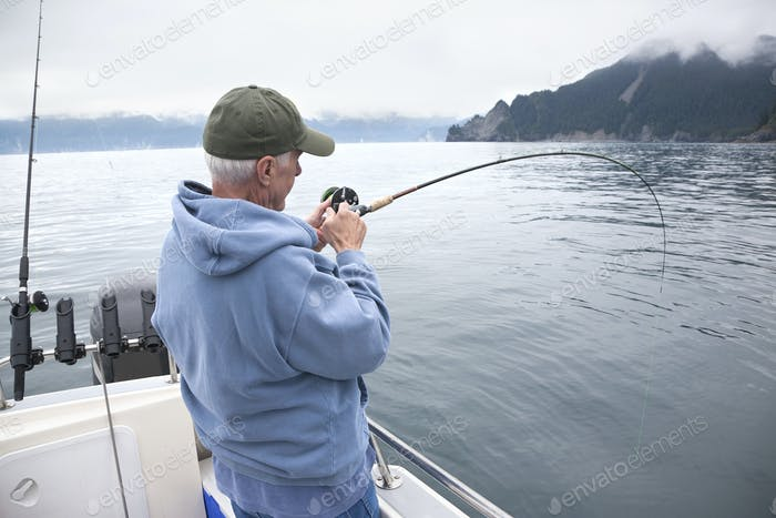 Senior fisherman catching a fish in the ocean near Seward, Alaska