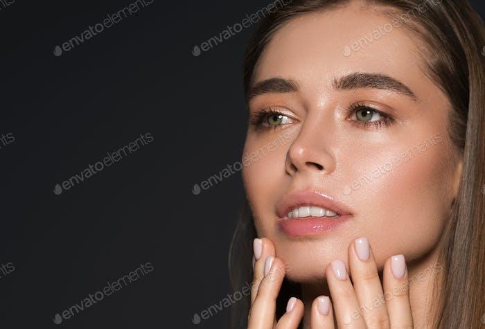 Natural beauty healthy hair and skin woman