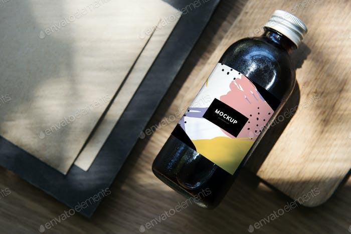 Design space on coffee drink glass bottle