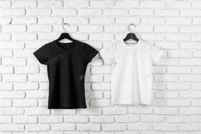 Black and white color two plain t-shirts