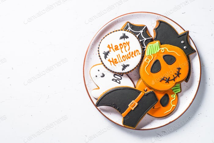 Halloween food bakground -Gingerbread Cookies on white table