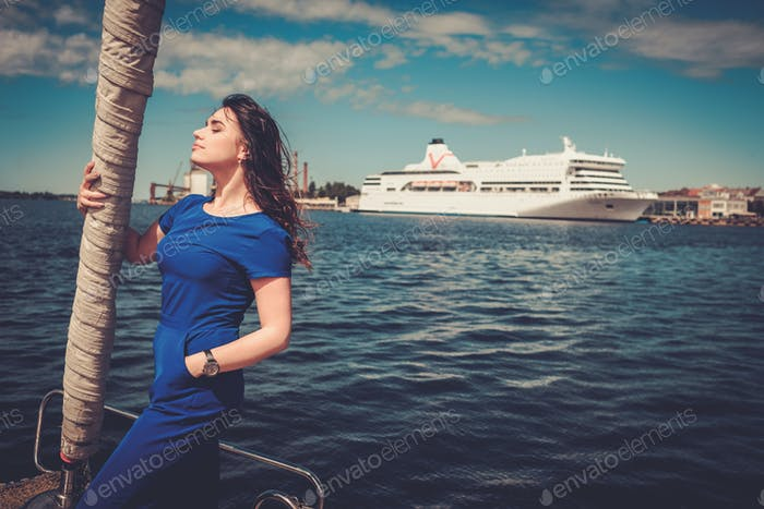 Woman enjoying ride on a yacht