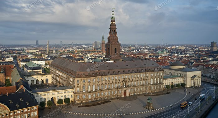 Aerial view of Christiansborg Palace in morning sun, Denmark