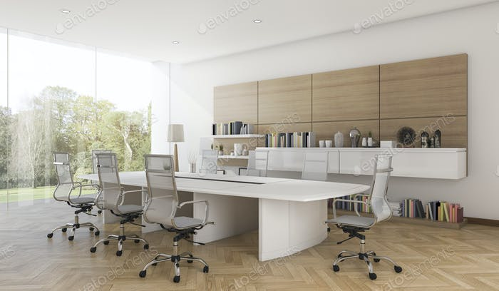 3d rendering business meeting room with contemporary wood style