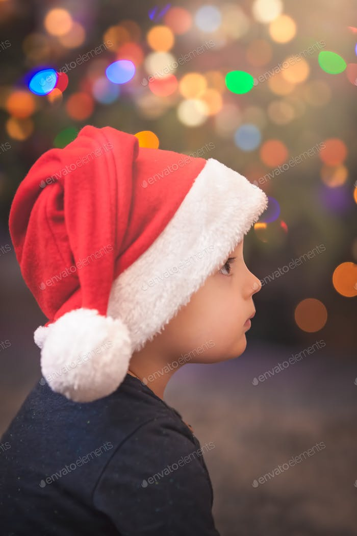 Cute Christmas boy portrait