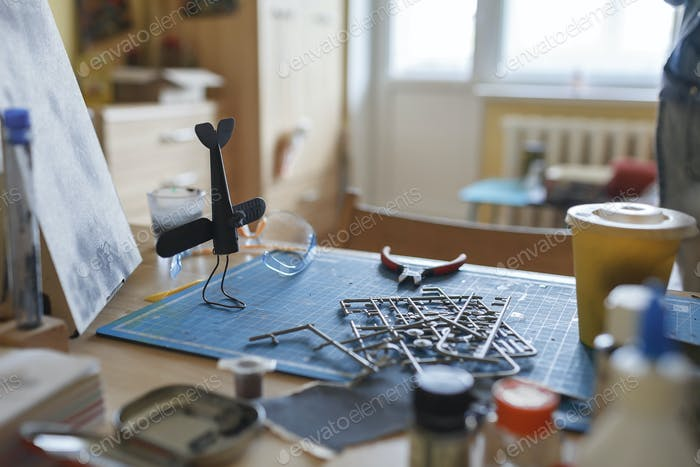 Workplace of geek teenage girl engineering an airplane model at home, generation Z, nerd subculture
