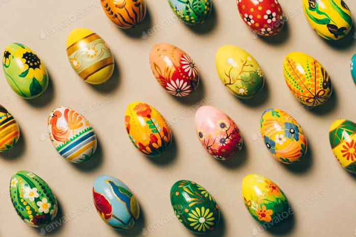 Bunch of colorful handpainted eggs. Easter