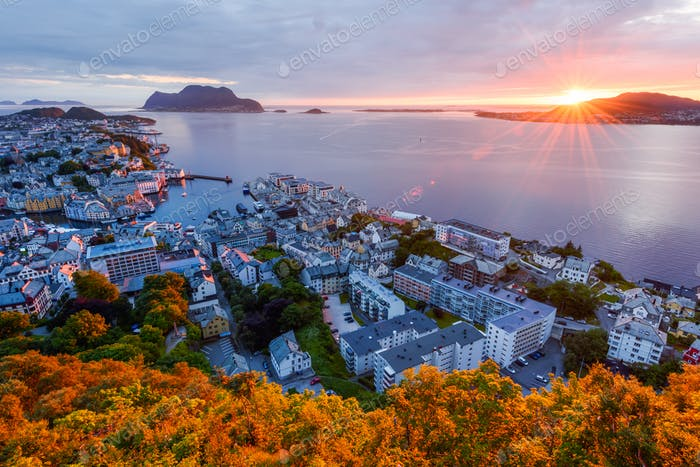 Colorful sunset in Alesund port town