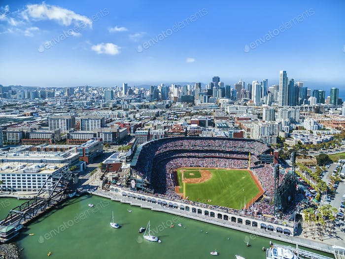 Aerial view over the A & T Ballpark the home of the San Francisco  Giants football team in San