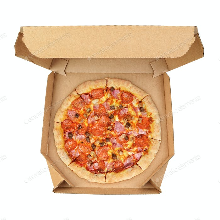 Pizza in cardboard box isolated on white background