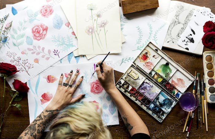 Rear View of Artist Woman Working Painting Flowers Water Color o