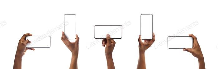 Set of black woman's hands holding smartphone with blank screen