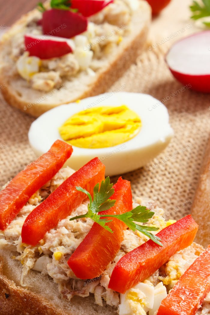 Fresh sandwiches or baguette with mackerel or tuna fish paste