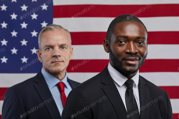 Two Politicians against American Flag