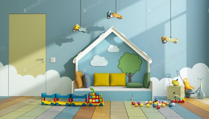 Playroom with bed and toys