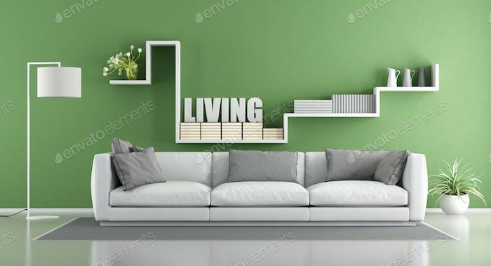 Green modern living room