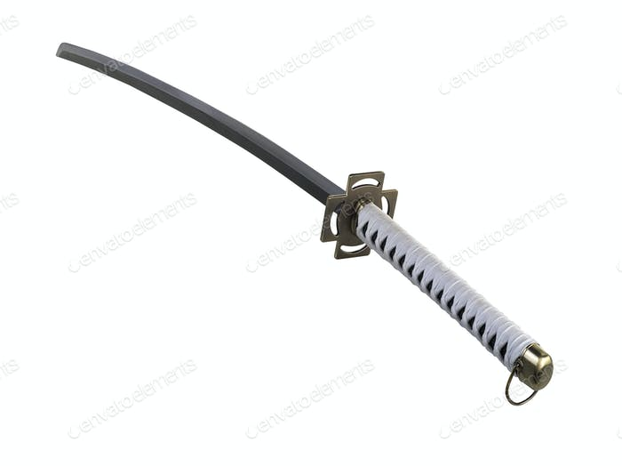Katana sword isolated on white (clipping path )