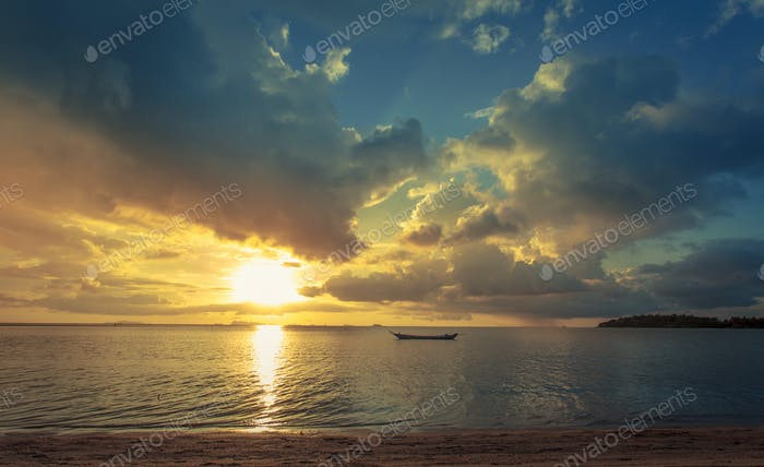 Fisherman boat with sunset scene in koh phangan. Horizontal imag