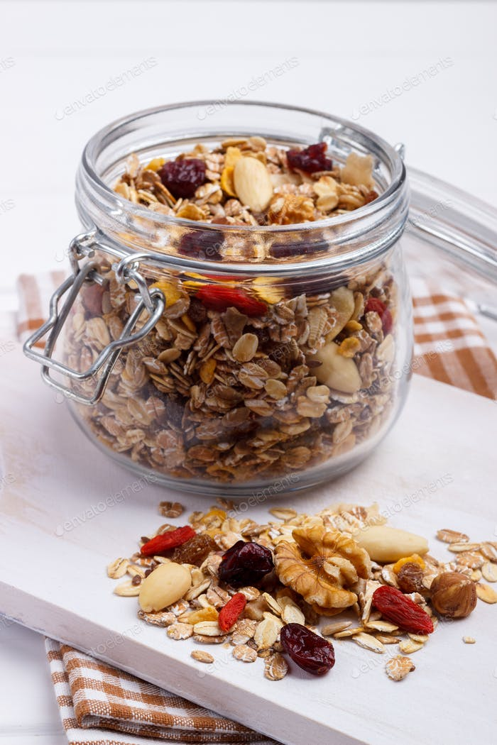 Jar of homemade muesli
