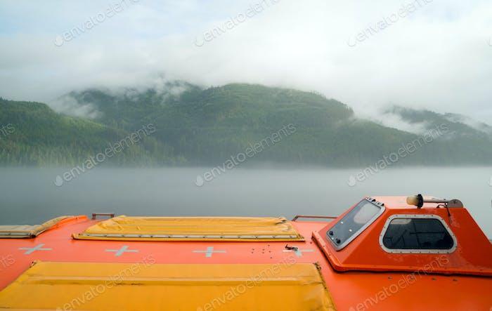 Orange Lifeboat Inside Passage Sea Ocean Liner Cruise