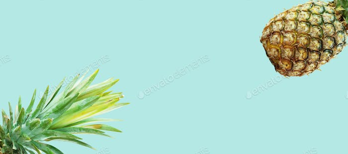 Pineapple on green background